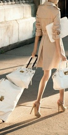 I'd like to roll like that but someone else has to carry all those bags...Fashion, Travel Chic, Travel In Style, Jimmy Choo, White, Trench Coats, Travel Style, Bags, Private Jet