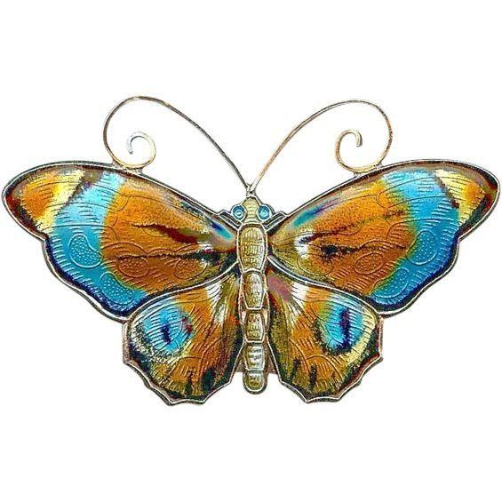 LARGEST Vtg DAVID ANDERSEN Norway Sterling Silver Enamel Butterfly Brooch Pin
