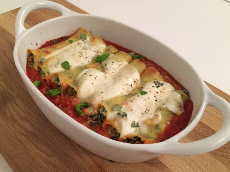 Cannelloni fylt med ricotta og spinat