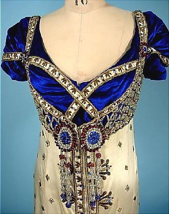 c. 1910 Jeweled Satin and Velvet Gown! Designed for Madame De Bittencourt! Assumed Edwardian Costume for Fancy Dress Regency Ball!