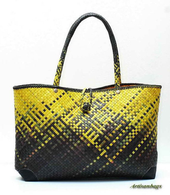 UNIQUE Traditional Hand Woven Straw Tote Bag by artisanbags
