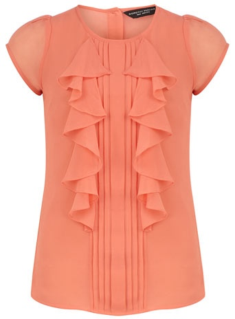 Coral short sleeve frill top. Too bad I can't wear anything like this on my mission-the Philippines is way too hot for polyester!