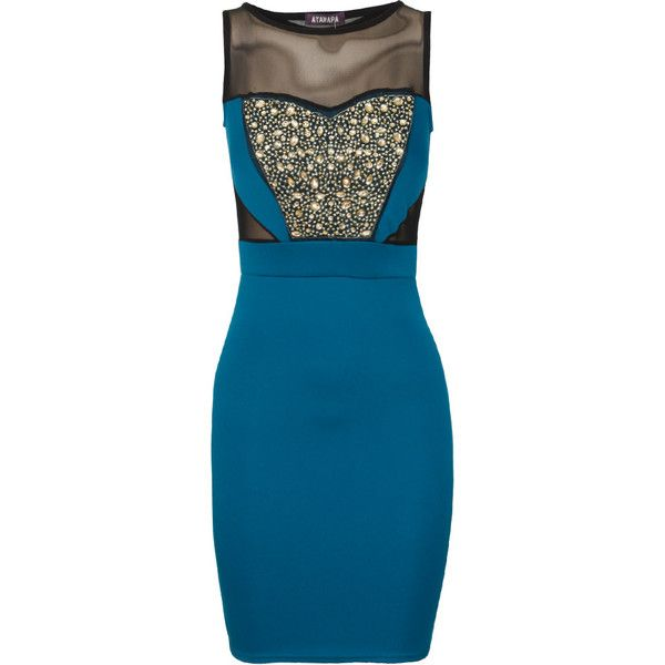 Gemstone Embellished Mesh Detail Bodycon Dress in Teal Green ($39) ❤ liked on Polyvore featuring dresses, vestidos, short dresses, bodycon mini dress, beaded cocktail dress, bodycon dress, short beaded cocktail dresses and blue bodycon dress