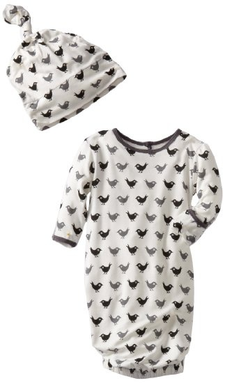 Love!    Kicky Pants Newborn Layette Gown and Knot Hat Set - birds