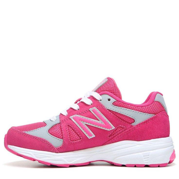 New Balance Kids' KJ888 Medium/Wide/X-Wide Running Shoe Grade School Shoes (Pink/Grey Leather) - 7.0 W