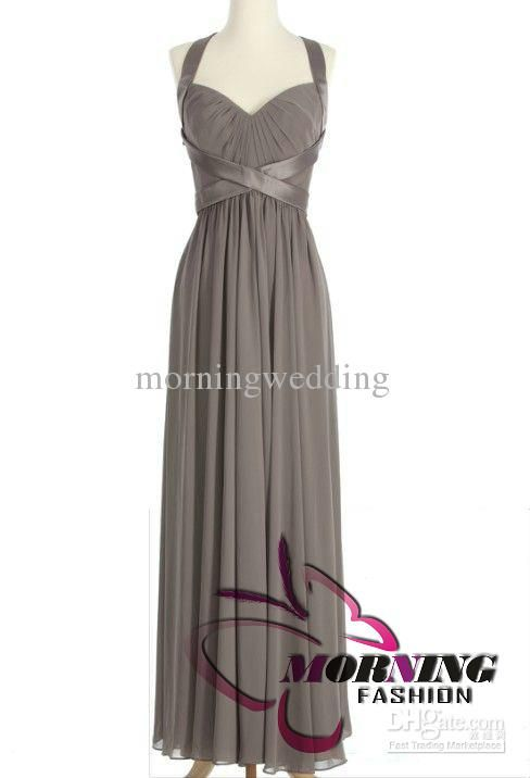 Buy cheap Gray Beauty Sweetheart A-line xmas Ruffles Bridesmaid Dress Chiffon Long Party Dress Prom Dress with $78.4-89.6/Piece|DHgate