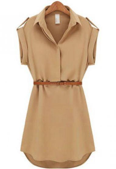 Khaki Lapel Short Sleeve Loose Chiffon Dress pictures