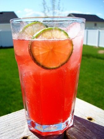 "Raspberry Lime Rickey. Very nice sweet/sour combination. And you can actually taste the raspberries and limes, not just sugar! As my 4 year-old sister put it ""It's sweet and sour and good!"""