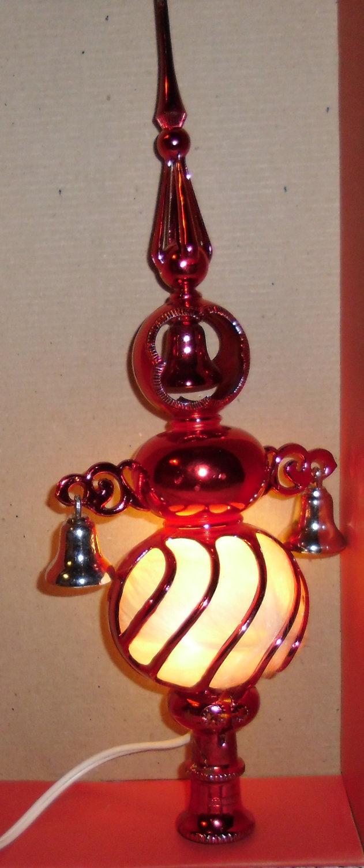 Bradford christmas ornaments - Vintage Christmas Tree Topper Bradford Novelty Red Electrified Carillon Spire Top