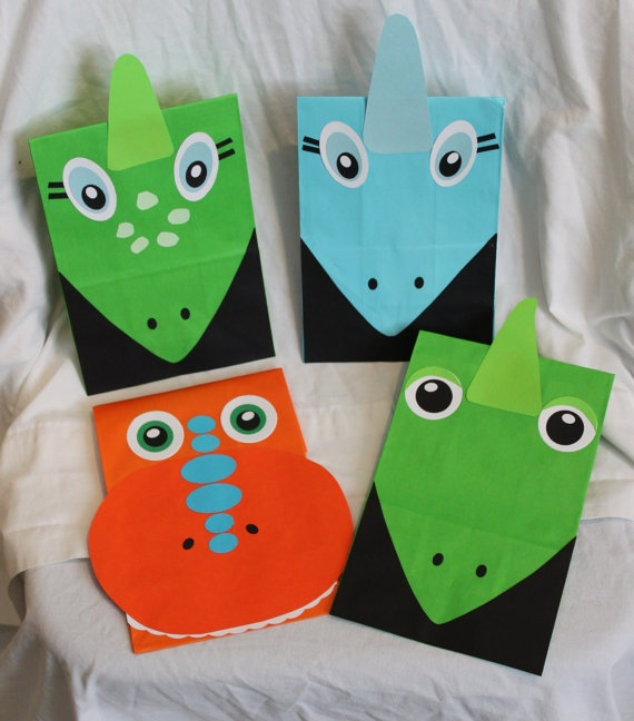 Dinosaur Train party treat bags- making these myself!