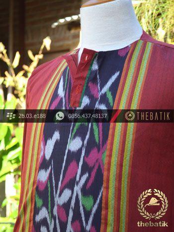 Baju Koko Tenun Ikat Warna Merah | Maroon Ikat http://thebatik.co.id/kain-batik-bahan/