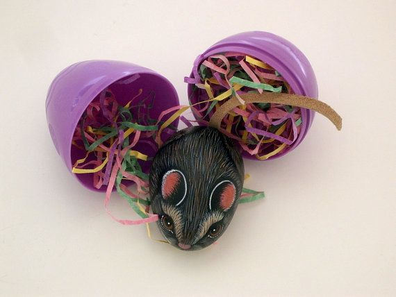 Spring-Easter-Brown kitchen mouse-miniature painted rock animal by RockArtiste on Etsy