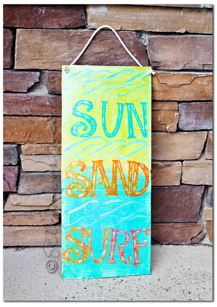 beachy painted board, Easy Kids Crafts Room Decor DIY @Gina @ Kleinworth & Co.