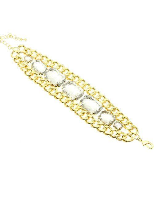Crystal Link Bracelet (Clear) – EvaMaria Boutique