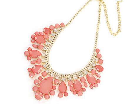 Sweet Coral Necklace - Bubble necklace, crystal jewel gems necklace, beadwork statement necklace, bridal bridesmaid necklace, party necklace on Etsy, $36.00