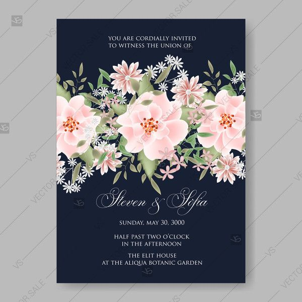 Pink Rose Dumalis Clematis Wedding Invitation Vector Card Template On Dark Blue Background Greeting Card Wedding Invitation Vector Rose Wedding Invitations Wedding Invitations