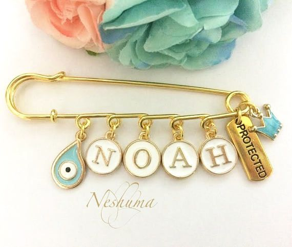 Personalized Baby Boy Gift, Baby Name Pin, Noah Name, Protection for Baby, Evil Eye Baby Pin, Newborn Boy Pin, Stroller Pin, Gold plated pin