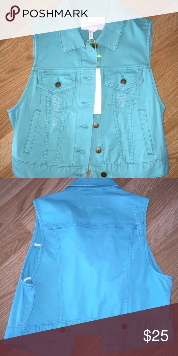 BCBGeneration Teal Mint Jean Jacket BCBGENERATION TEAL MINT JEAN JACKET 100% AUTHENTICITY GUARANTEED  NEW WITH TAGS - NEVER BEEN WORN OR TRIED ON SIZE: WOMEN'S SMALL CUTE AND COMFORTABLE DISTRESSED JEAN JACKET VEST THERE ARE NO HOLES, MARKS, STAINS, OR TEARS ON THIS JACKET MADE OF 74% ACRYLIC, 24% NYLON, & 2% OTHER FIBERS BCBGeneration Jackets & Coats Jean Jackets