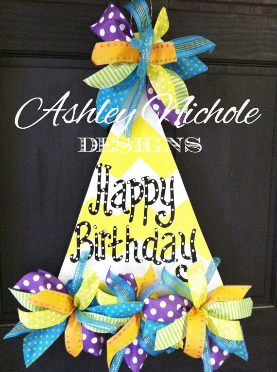 Party Hat Door Hanger Door Decoration by DesignsAshleyNichole