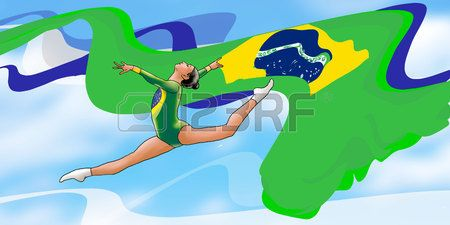 2016 Olympics and Paralympic Games, Brazil Young gymnast woman in green sportswear dress with Brazilian flag doing art gymnastics e Stock Illustration