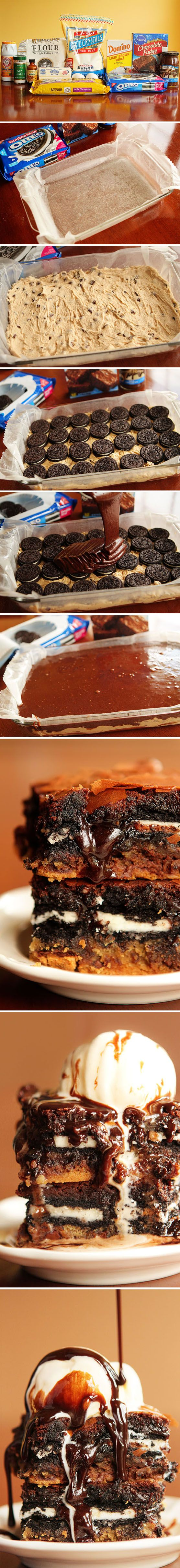 Barras de galleta, brownie de chocolate y Oreos