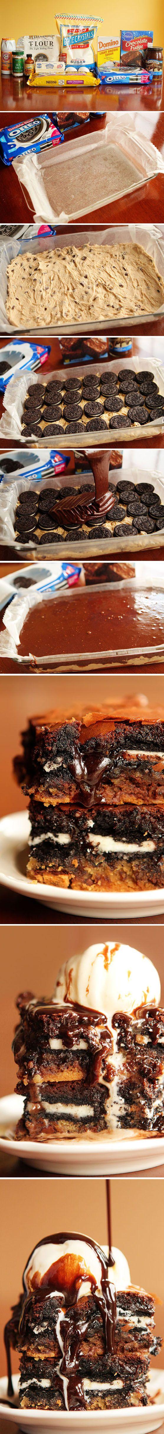 Barras de galleta, brownie de chocolate y Oreos