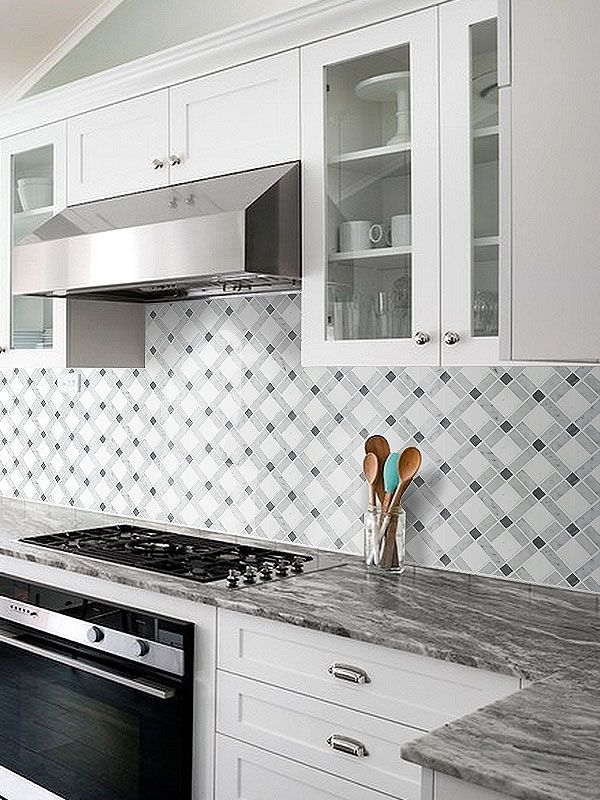 Gray Countertop White Cabinets With White And Gray Marble Mixed Kitchen Backsplash  Tile From Backsplash.