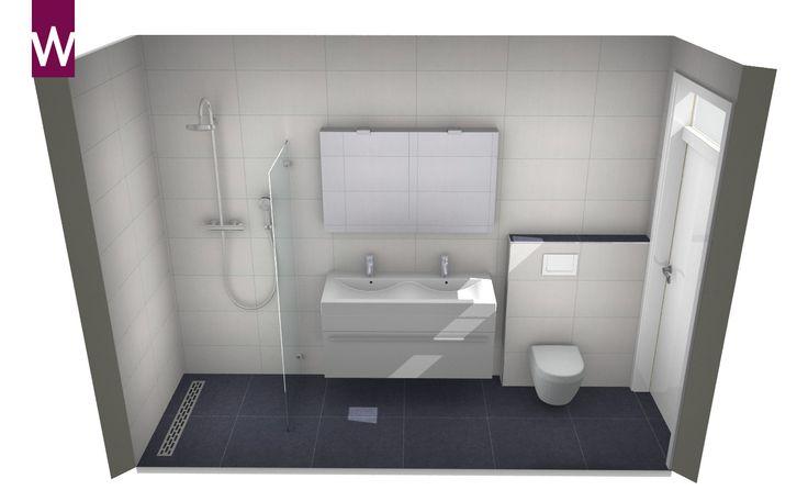 Smalle kleine badkamer met dubbele wastafel, wandcloset en inloopdouche