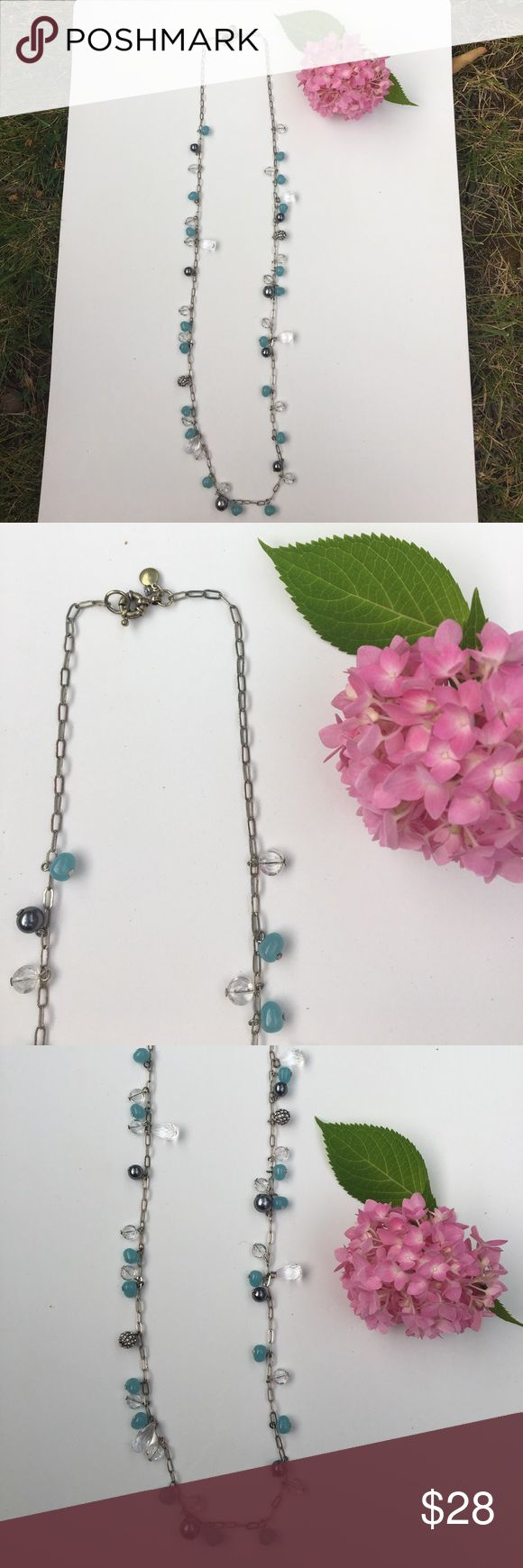 J Crew silver and aqua beaded necklace J crew necklace with Aqua, clear, and , silver Pearl-like beads on a silver chain. Inches long excellent condition J. Crew Jewelry Necklaces