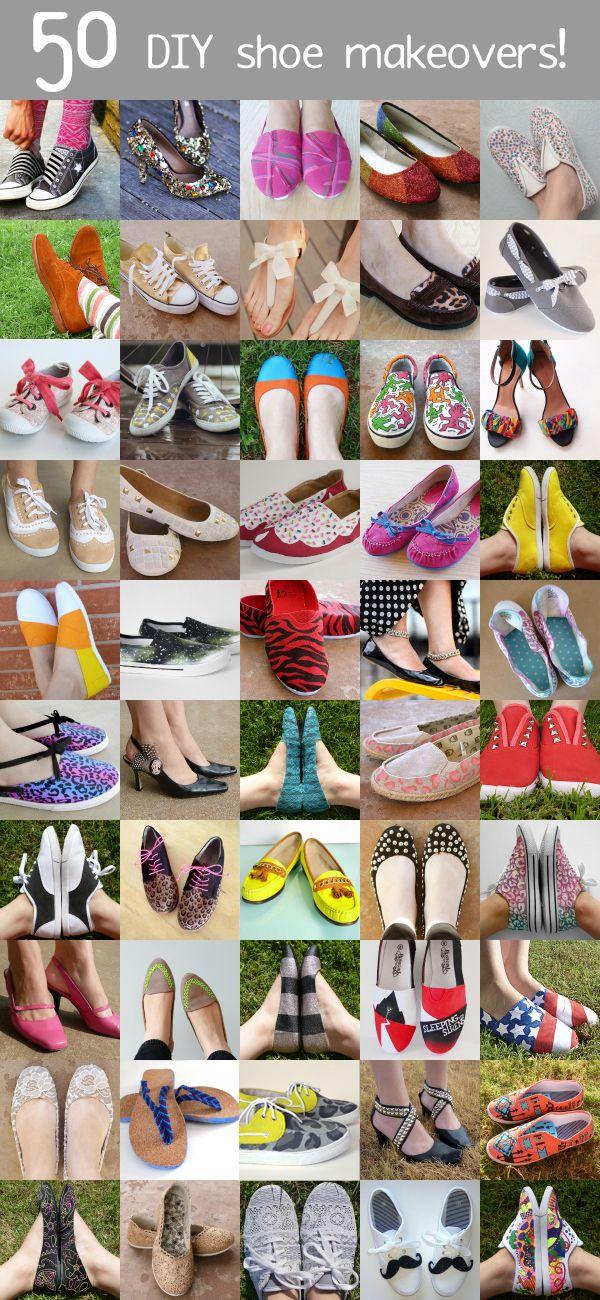 50 DIY Shoe Makeovers! #crafts #diy #shoes