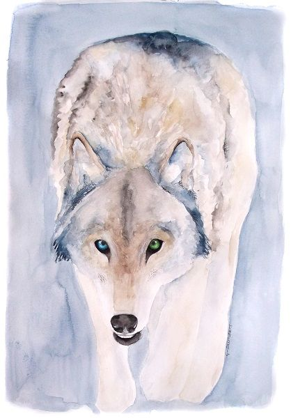 Hunting Wolf watercolour painting by Guinevere Saunders Artist Watercolour black fineliner and white paint pen 140lb watercolour paper 11.69 x 16.5 2015