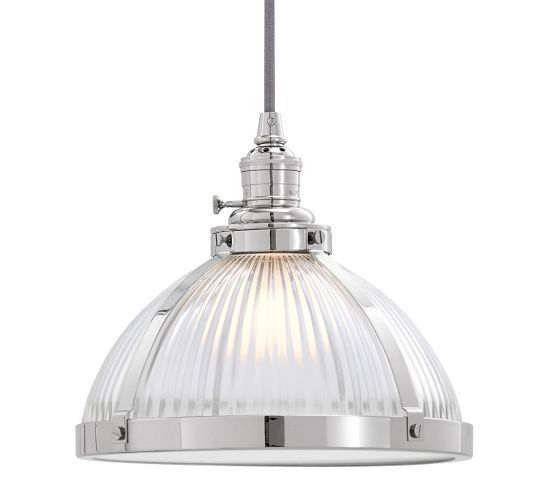Kitchen Pendant Lighting Pottery Barn: PB Classic Pendant - Ribbed Glass