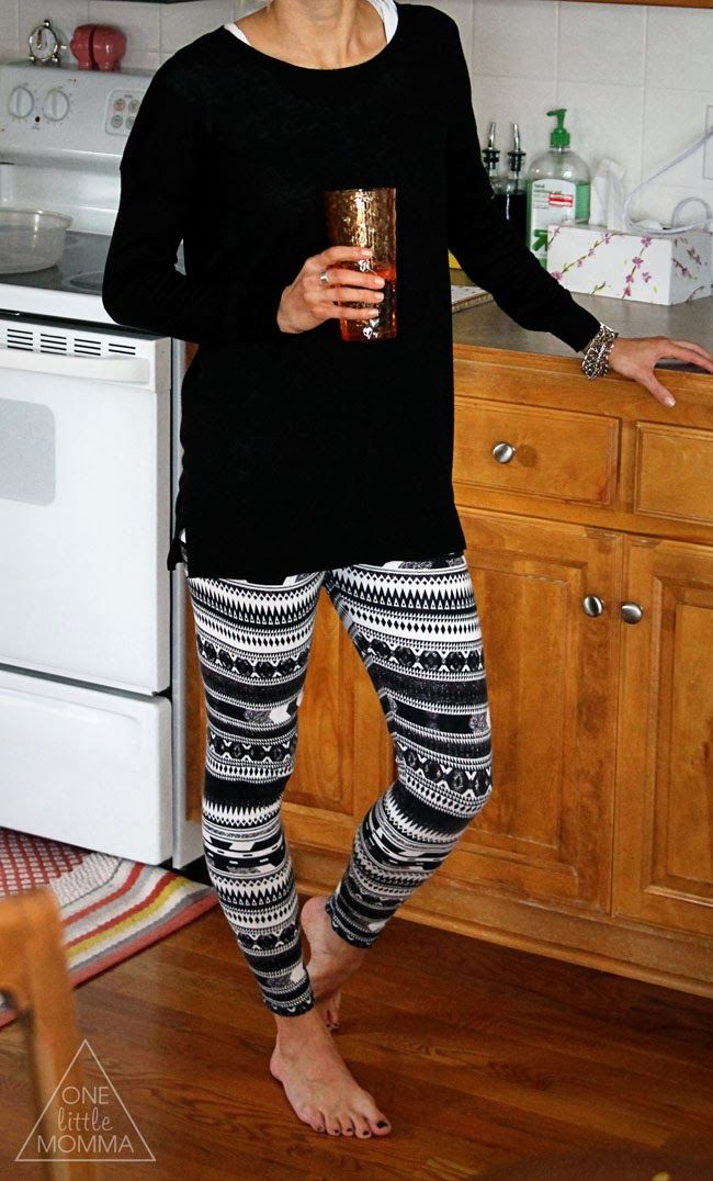Printed leggings, tunic sweater. Great for laying about the house!