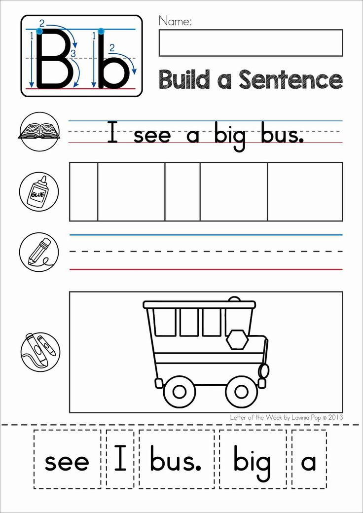 Phonics Letter of the Week B. Build a sentence cut and paste activity with CVC words for beginning and struggling readers.