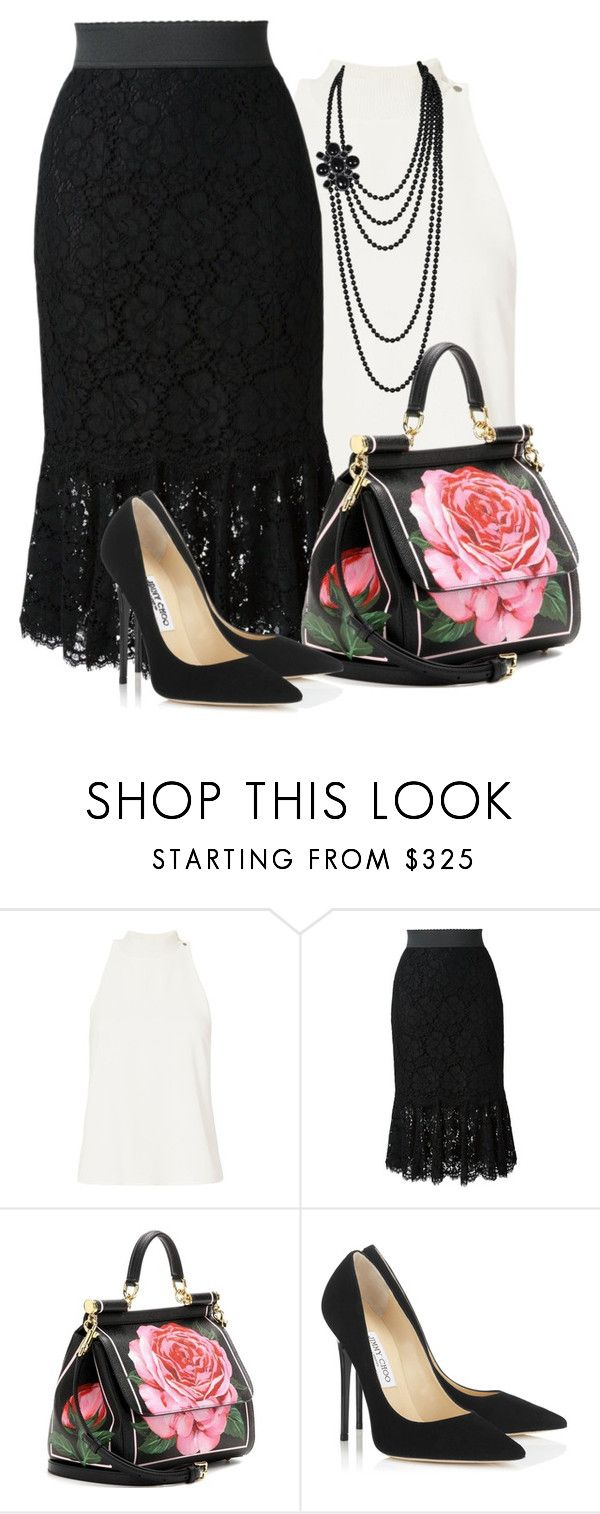 """Lace pencil skirt"" by lbite ❤ liked on Polyvore featuring A.L.C., Dolce&Gabbana, Jimmy Choo, Chanel, Dolce, lace, pencilskirt and choo"