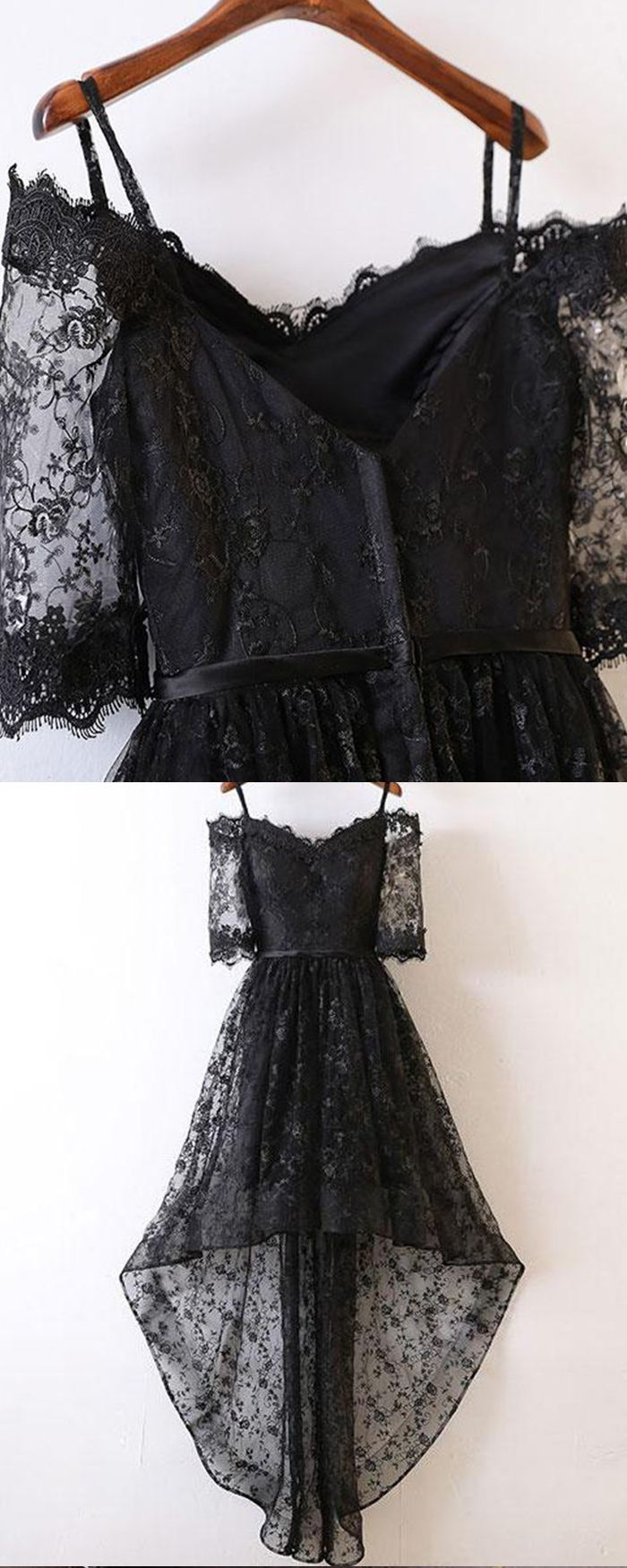 a6d90fb9dd4c Cold Shoulder Black Lace High Low Prom Dress with Half Length ...