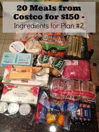 20 Meals from Costco Ingredients Plan 2 20 Meals at Costco for $150   Meal Plan #2 with Printables