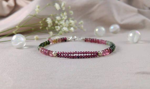 Turmaline & garnet bracelet 925 sterling silver