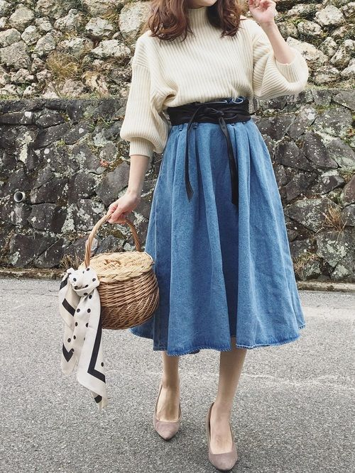 moyooonn│GU Denim skirt Looks - WEAR