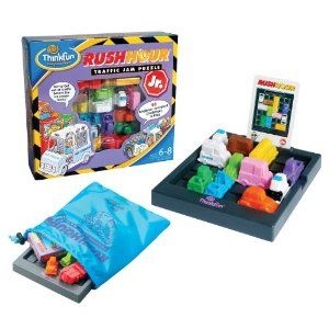 ThinkFun Rush Hour Jr. by ThinkFun. $14.43. For ages between 6 to 8 years. Fifteen cars and truck, one ice cream truck. Four levels of play. Traffic game grid and game-go storage bag. Forty mind challenge cards with solutions. From the Manufacturer                Younger players can experience the fun and challenge of Rush Hour in this exciting junior version. After setting up their game board according to pictures on various challenge cards, players steer their ice...