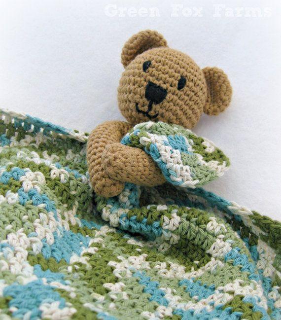 CUSTOM Crochet Baby Bear Blanket Lovey Infant Blanket Bear Crochet Baby Lovey