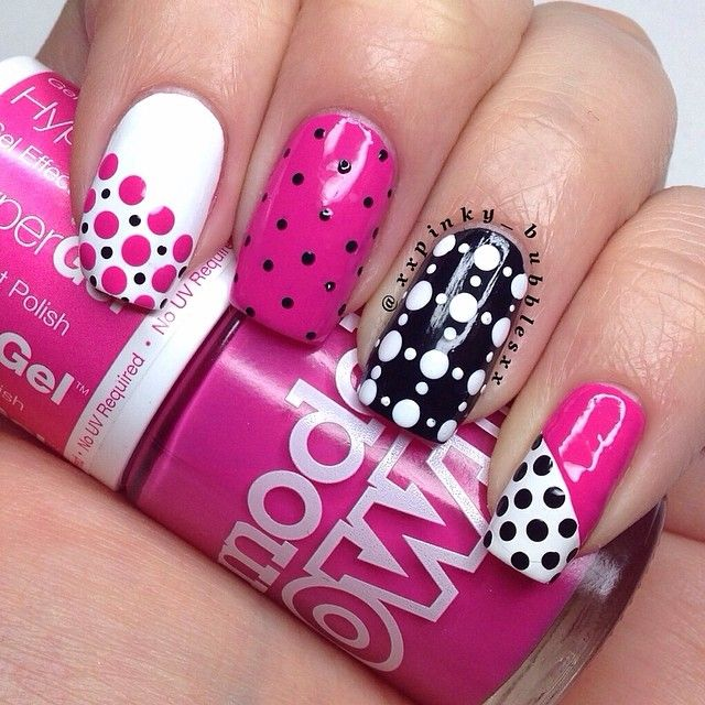 Instagram media by thepolishlist - Pink, Black & White are such a gorgeous combo & today I decided to use them to create a skittle dotticure. I used @modelsownofficial Cerise Shine, Black Magic & White Light