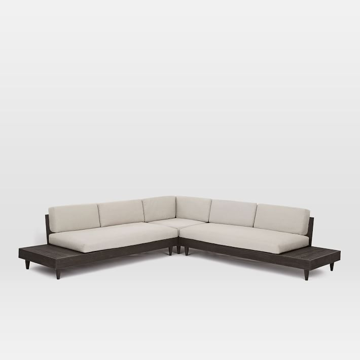 Portside Outdoor Low L Shaped Sectional Weathered Cafe Sectional Lounge Chair Outdoor Easy Backyard Diy