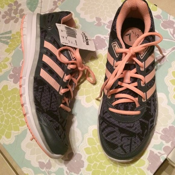 Brand new Adidas running shoes New with tag got cute salmon and gray colors it is so adorable Adidas Shoes Athletic Shoes