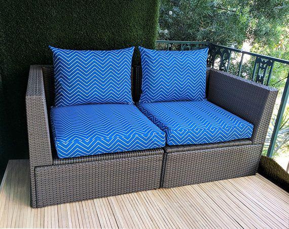 Blue Chevron IKEA OUTDOOR Slip Cover Ikea Cushion Covers