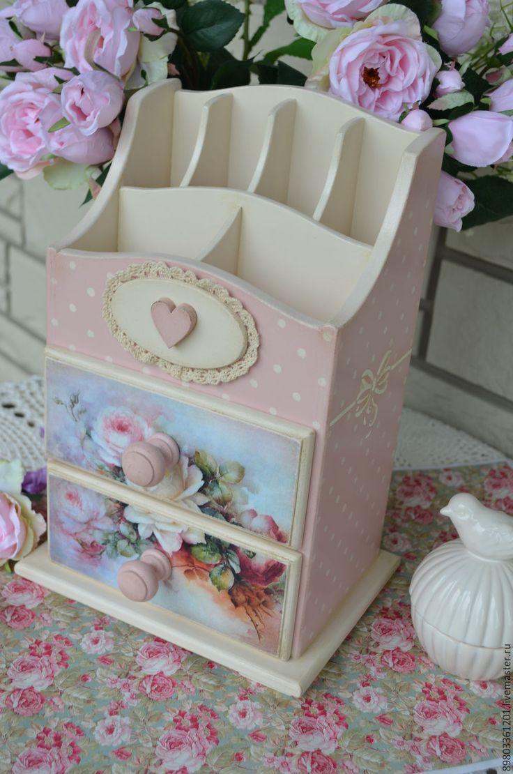 Купить Мини-комод декупаж,,Розы..,, - розовый, мини комод, мини комодик