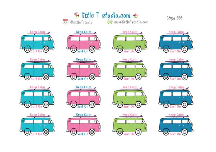 Keep Calm Surf On Travel Van Stickers - Style 556. Fun stickers.  Great to put in planners like Erin Condren, Happy Planner, Kikki K, Filofax, travel notebooks, TN. Van life, beach life, surf bus!