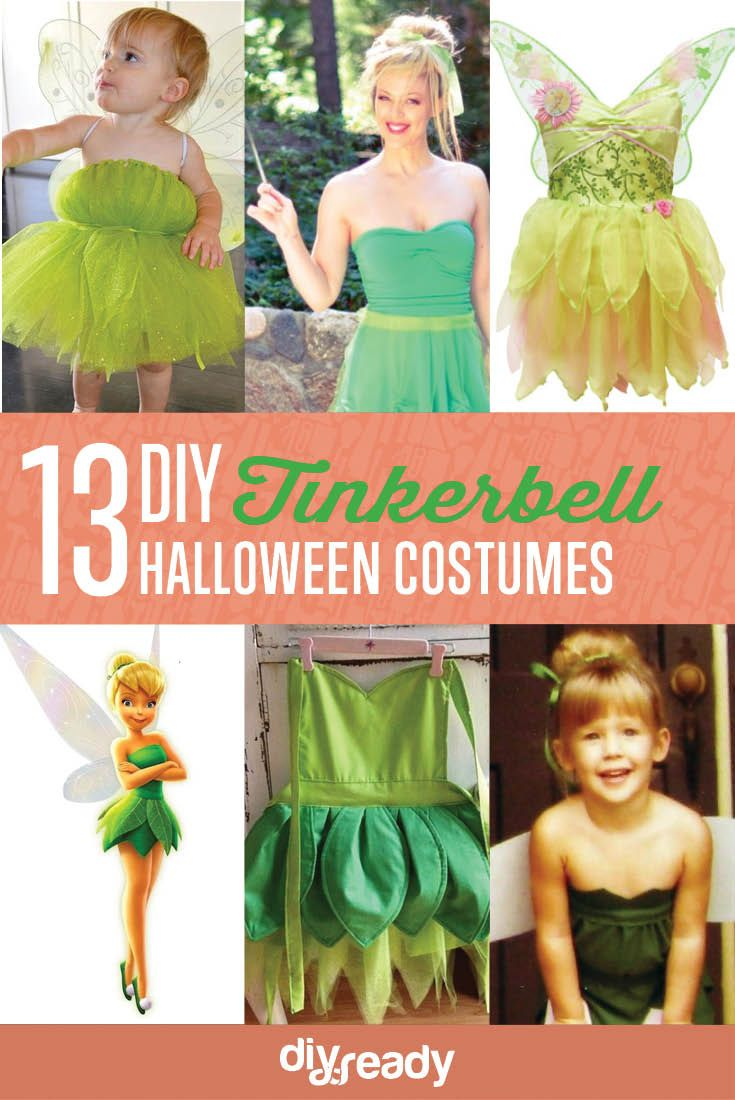 13 DIY Tinkerbell Costume Ideas | Cute and Easy Sewing Costumes For Girls by DIY Ready at http://diyready.com/diy-tinkerbell-costume-ideas/