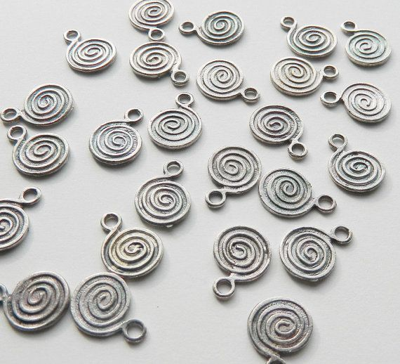 25 Antique Silver Flat Swirl Disc Charms 18mm by VioletEarthDesign