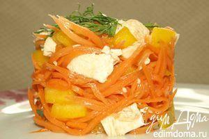 Рецепт – Салат из острой моркови с куриной грудкой и сладким перцем